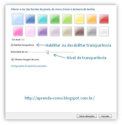 """Sempre que você muda o tema do Windows 7 muda também a cor do aero, """"bordas da janela e barra de tarefas"""", a maioria dos temas do Windows 7 são excelentes,  mas as cores do aero podem não agradar a todos os usuários, então resolvi escrever este artigo onde você vai aprender a alterar a cor e transparência  do aero sem precisar mudar o tema, é bem simples..."""