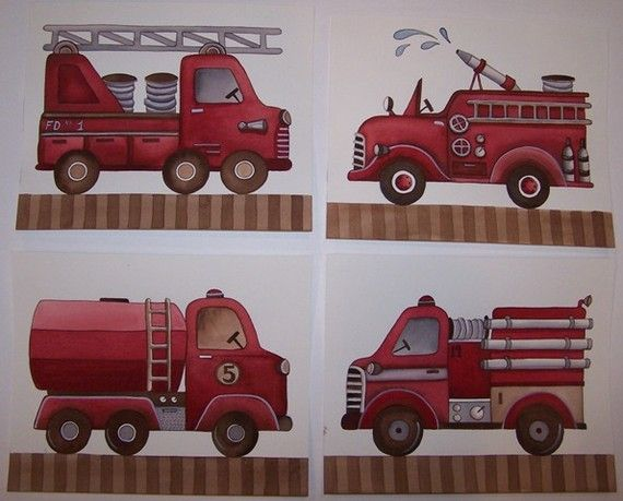 Fire truck firetruck engine boys kids nursery by theprincessandpea