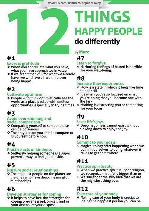 12 things happy people do differently. I've always said this and better still when it all comes naturally to you and you don't need therapy to achieve it.