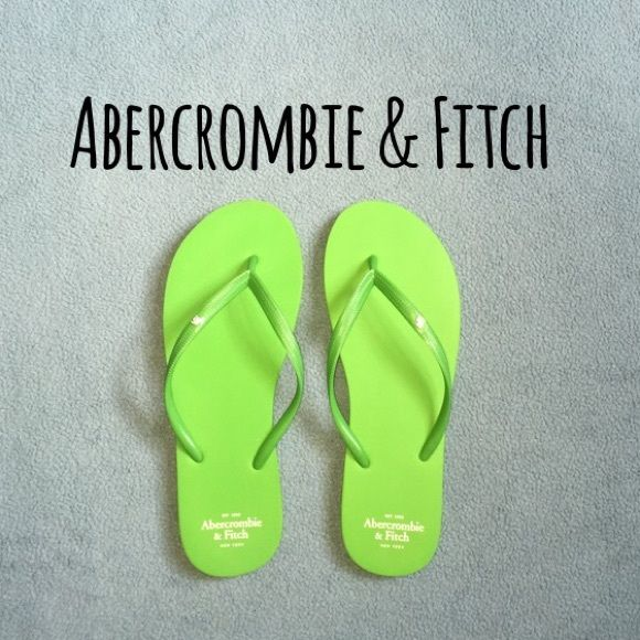 Abercrombie and Fitch Flip Flops Super cute green rubber flip flops from Abercrombie and Fitch! They're super cushiony and in great condition! Abercrombie & Fitch Shoes