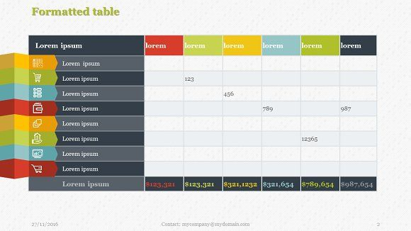 Creative Tables Pack 1 PowerPoint by Yes Presentations on @creativemarket