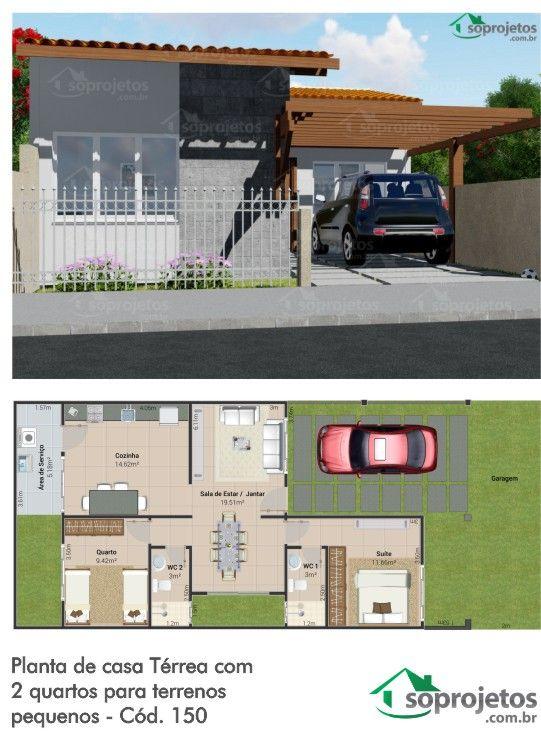 Projetada pensando naqueles que possuem um terreno pequeno a partir de 7.5 por 17 metros, esta casa contém 2 quartos sendo um deles suíte, sala de estar e jantar conjugadas beneficiadas com a iluminação e ventilação de uma área de ventilação que foi feita no projeto, para a melhor comodidade dos que vivem na casa, além de uma cozinha ampla, área de serviço e garagem para um carro.