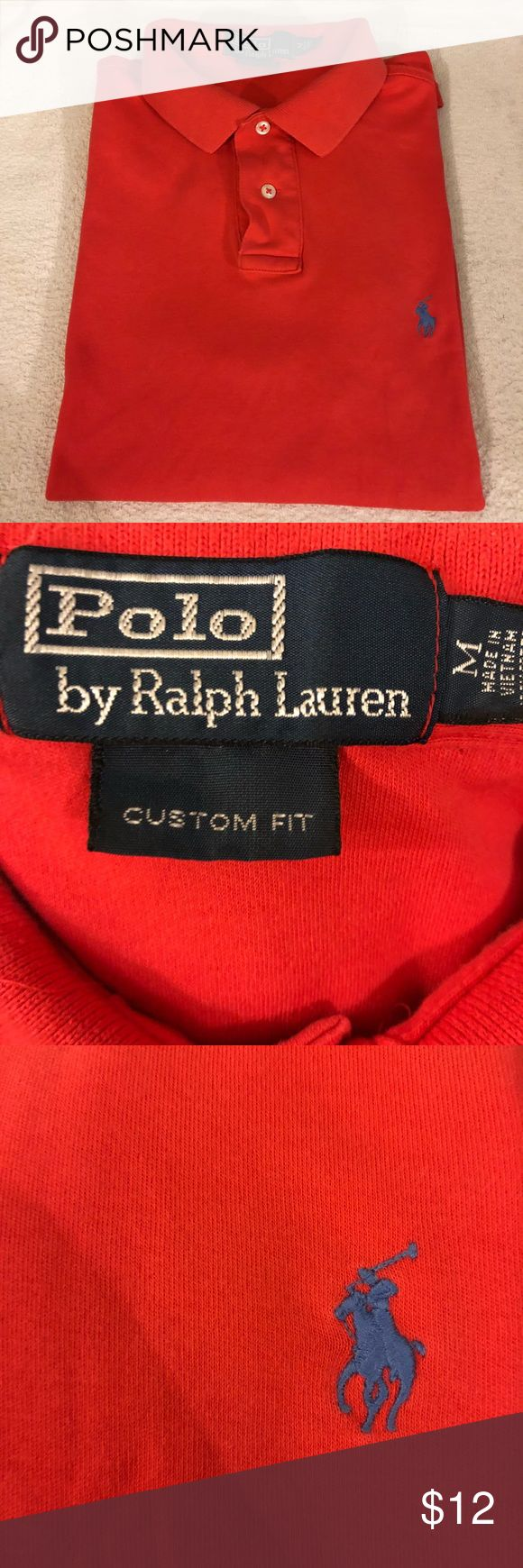 Polo Ralph Lauren Red Custom Fit Polo Shirt M Polo Ralph Lauren Solid Bright Red Custom Fit Short Sleeve Polo Shirt size M! Great condition! Please make reasonable offers and bundle! Ask questions! :) Polo by Ralph Lauren Shirts Polos