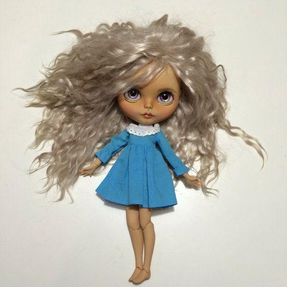AnyaCustom Blythe doll mohér blond vlasy OOAK art panenku
