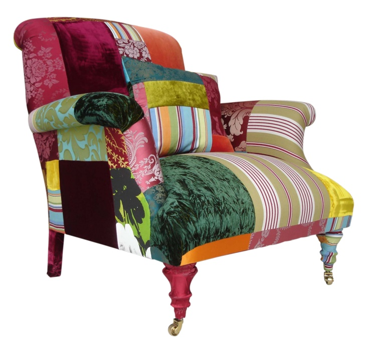 he Bloomsbury    The Bloomsbury chair made in England to commission in the colourways as shown, by the nature of the hand stitched patchworked process no two pieces are exactly the same. Fabrics used include woven silks, velvets and printed and woven cottons