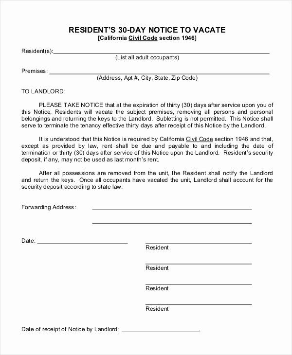 30 Days Eviction Notice Template Luxury Free 14 Examples Of 30 Day Notice In Pdf Doc 30 Day Eviction Notice Being A Landlord Eviction Notice