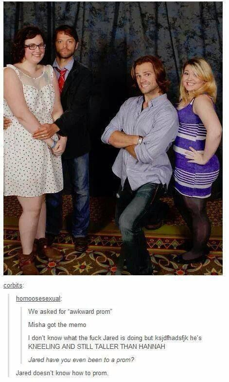 """#Supernatural haha """"Jared doesnt know how to prom"""" .. Misha Collins and Jared Padalecki"""