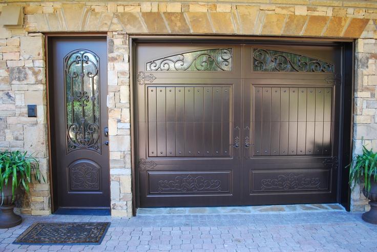 Matching single garage door side door finished in for Garage side entry door