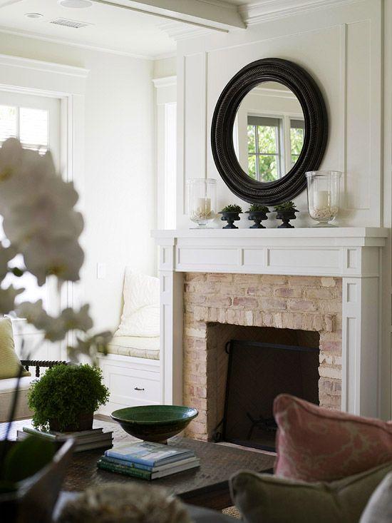 brick surround fireplace detail