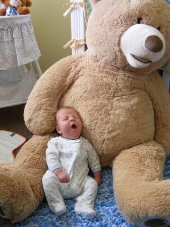 Item of the Day: Giant Teddy Bear   Gotta get one of these for baby girl, so we can take pictures of her with it as she grows.