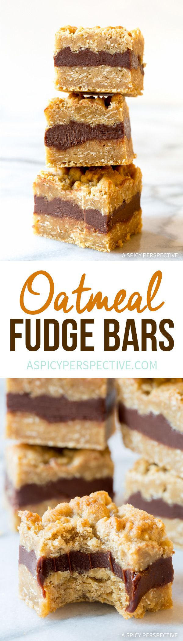 Ridiculously Delicious Oatmeal Fudge Bars Recipe | ASpicyPerspective.com via @spicyperspectiv