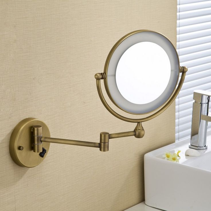 Make Photo Gallery Free Shipping LED light Wall Mounted Round x Magnifying Mirror LED Bronze Brushed nickel