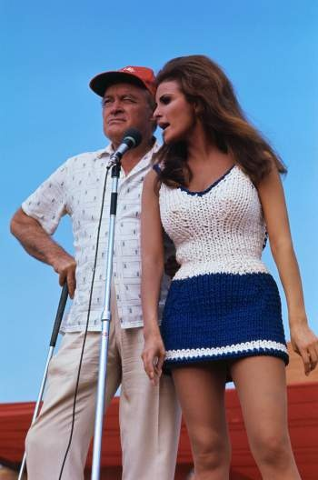Raquel Welch and Bob Hope.....they were ALWAYS overseas somewhere entertaining the troops!!!