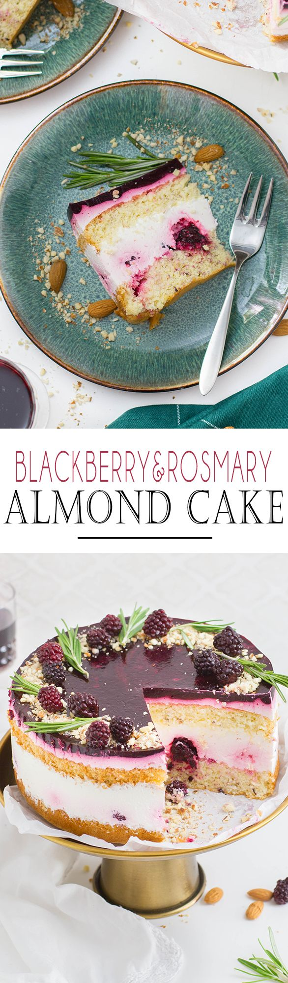 Elegant Blackberry and Rosmary Almond Cake with lemon cream // Elegante Brombeer Rosmarin Mandeltorte mit Zitronencreme