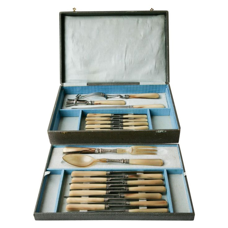 Boxed Set Of Bone Handle Knives And Serving Tableware  HEIGHT:3.15 in. (8 cm) WIDTH:15.16 in. (39 cm) DEPTH:10.24 in. (26 cm) DEALER LOCATION:London, United Kingdom NUMBER OF ITEMS:1 REFERENCE NUMBER:| From a unique collection of antique and modern serving pieces at https://www.1stdibs.com/furniture/dining-entertaining/serving-pieces/