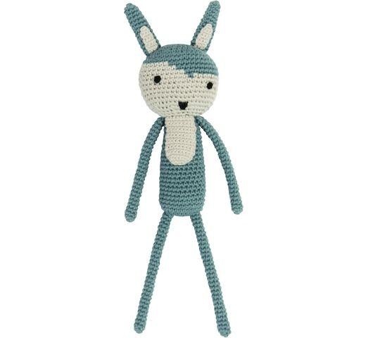knuffel gehaakt konijn blauw