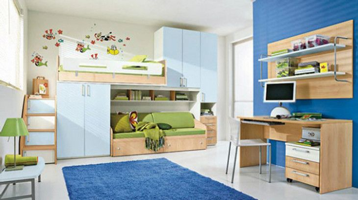 winning-kids-room-decorating-ideas-with-large-blue-rug-and-minimalist-desk-chair-also-smart-wall-shelves-design