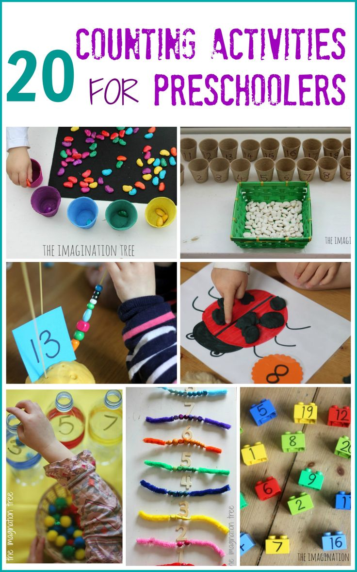 Here are 20 counting activities for preschoolers and school aged kids to enjoy, learning maths through play in as fun a way as possible!