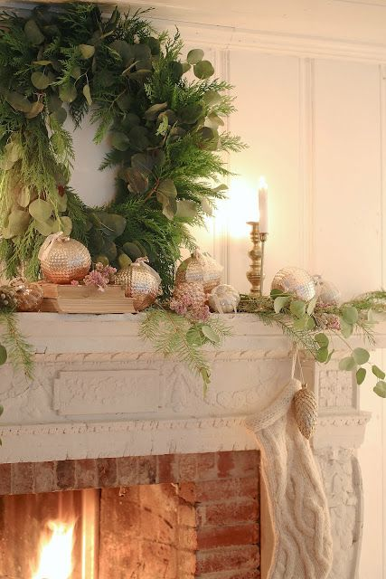 Simple French Country Christmas  -  Something simple.   Like fresh clipped greens, blush baubles and flickering candlelight.               It is kind of perfect for simple Ch...
