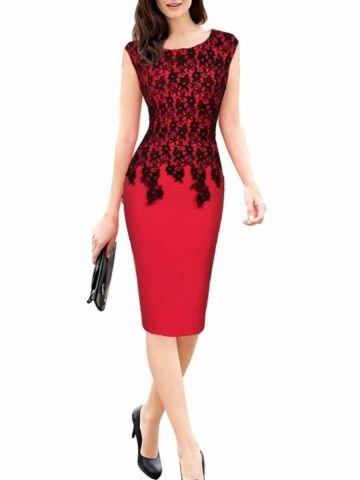 kup Płaszcz damski Dress O Neck Lace Patchwork Plus Size Sexy Tank Dress & Sukienki - w Jollychic