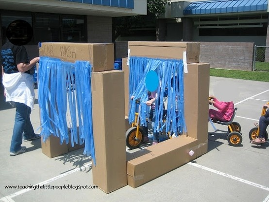 Kids car wash DIY cardboard box