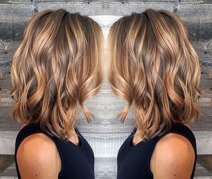 wavy lob paired with bronze blonde and light brunette balayage and babylights by Lynsey Good at Matthew Michael's Portfolio salon. photo by @mmseportfolio