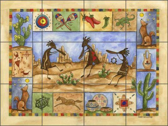 Kokopelli Sampler by Sara Mullen Ceramic Tile Mural - SM041