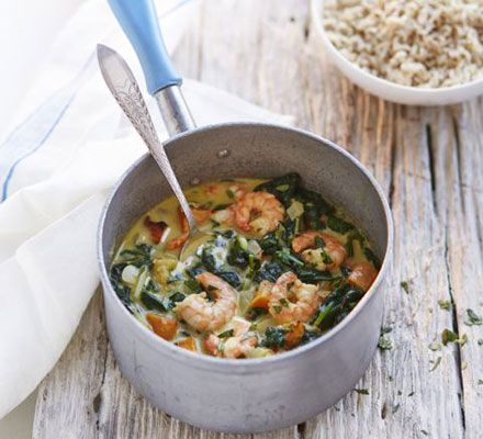 Prawn, butternut & mango curry. A light coconut-based curry flavoured with coriander, turmeric, cumin and lime. Serve with brown or wild basmati rice