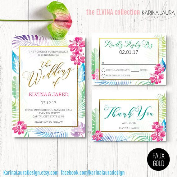 Hawaiian Wedding Invitation Set for a by KarinaLauraDesign on Etsy
