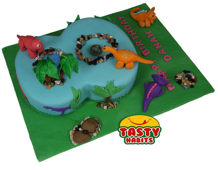 Custom Design Cakes: Cute Dinosaurs on 8 number shape
