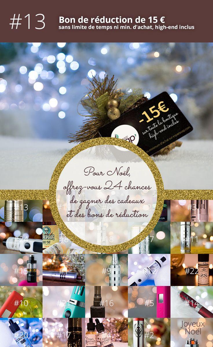 13ème jour de décembre, remportez un code promotionnel d'une valeur de 15 € matériel de cigarette électronique high-end INCLUS et valables sans limite de temps ni minimum d'achat ! Tous sur http://espacevap.com !