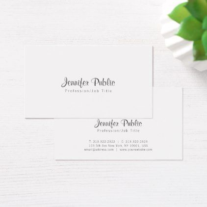 Elegant Simple Chic White Modern Professional Business Card - simple clear clean design style unique diy