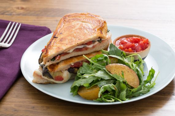 Eggplant & Mozzarella Paninis with Caramelized Stone Fruit & Arugula Salad. Visit https://www.blueapron.com/ to receive the ingredients.