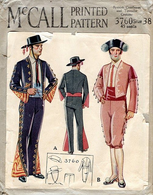 Spanish Gentleman and Toreador Costume, home sewing pattern from around 1932.  Can you say Rudolph Valentino?