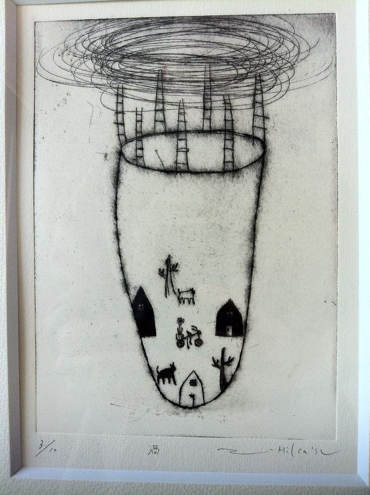 Etching by Hikatsu Tomomi from coto.coto gallery in Matsumoto, Nagano.