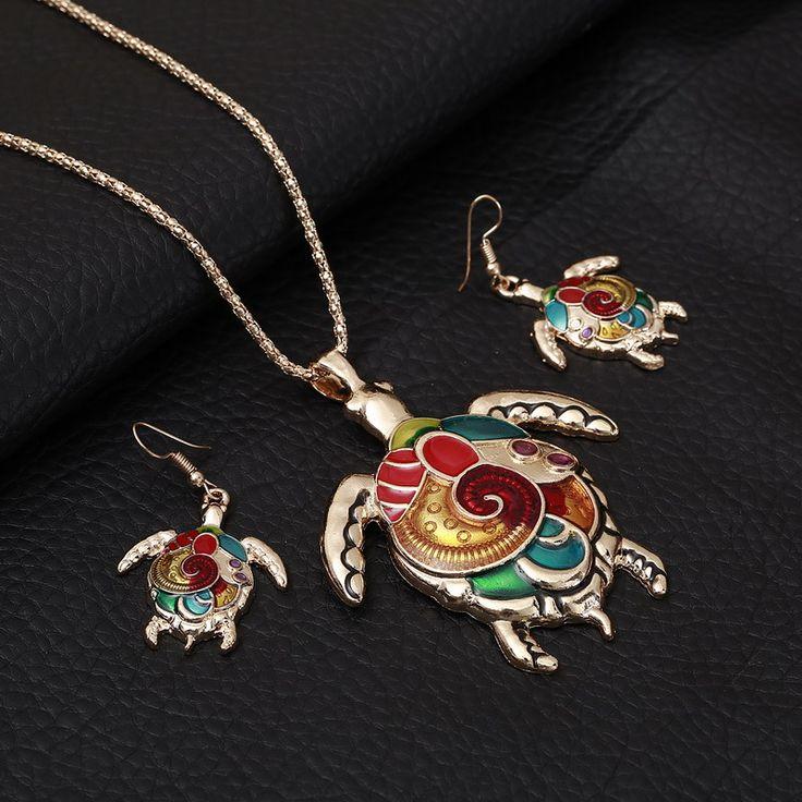 Mode Meisje Mooie Sieraden Sets Vergulde schildpad Vorm Kleurrijke Geschilderd Ketting Oorbellen Gratis Verzending