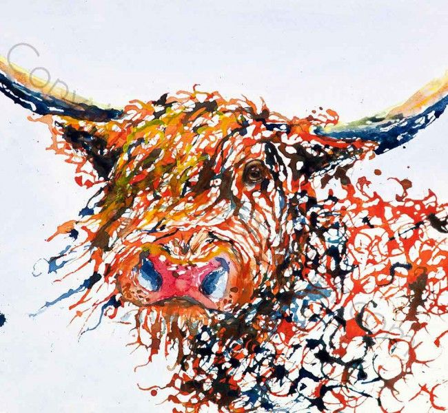 """""""Hairy McClairy"""" Highland Cow water colour on canvas"""