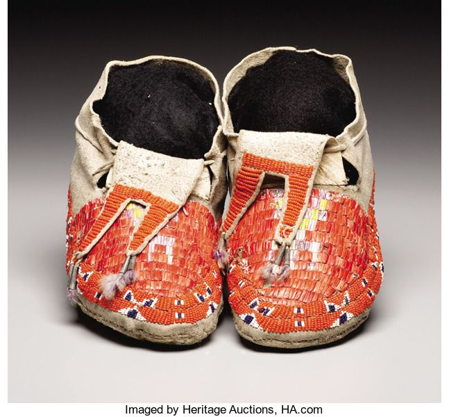 American Indian Art:Beadwork, A PAIR OF SIOUX QUILLED AND BEADED HIDE MOCCASINS. . c. 1910. ...(Total: 2 Items)