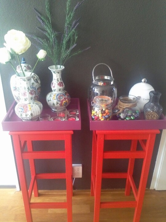 Repainted red tables for decoration with sweets and porselin (inhereted from my grandmother)