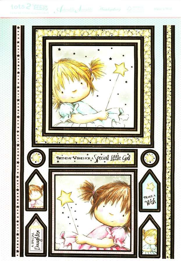Hunkydory Tots 2 Teens die cut toppers & card - Make a Wish, little girl