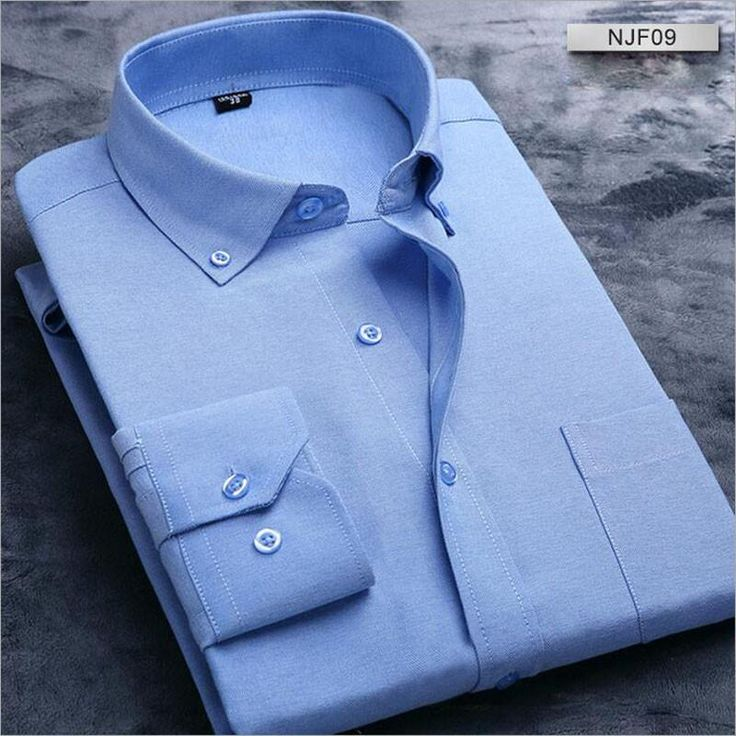 Striped Men Shirts Oxford Solid Dress Shirt Men Cotton Long Sleeve Shirts Male Plaid Slim Fit Formal Camisa Masculina Business - On Trends Avenue