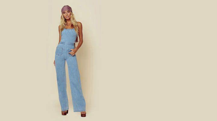 dec12431bfd7 Stoned Immaculate Jean Genie Jumpsuit  closure slim cross Jean Genie