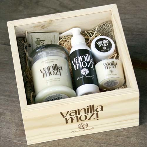 Vanilla Mozi Gift Pack One. A beautiful selection of Vanilla Mozi Natural Insect Repellent products contained within a handcrafted timber box from The Soapbox Company.