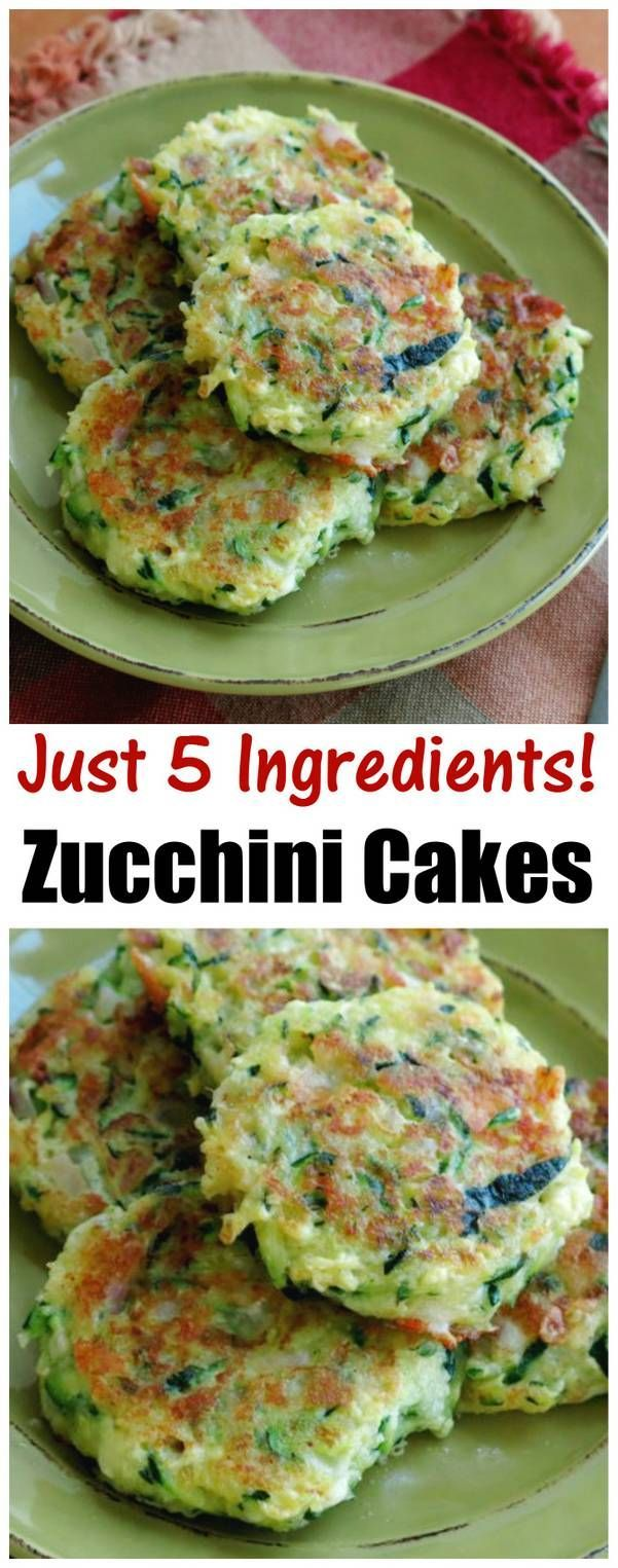 Easy Zucchini Cakes recipe with just 5 ingredients including tangy feta cheese and red onion. Low calorie, healthy and delicious!