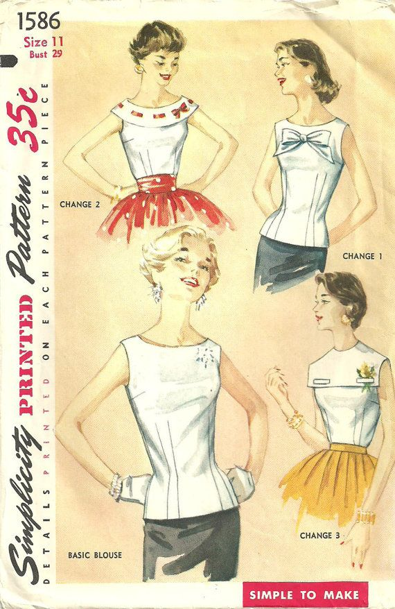 Simplicity 1586 Vintage 50s Sewing Pattern Blouse Size 11. $8.50, via Etsy.