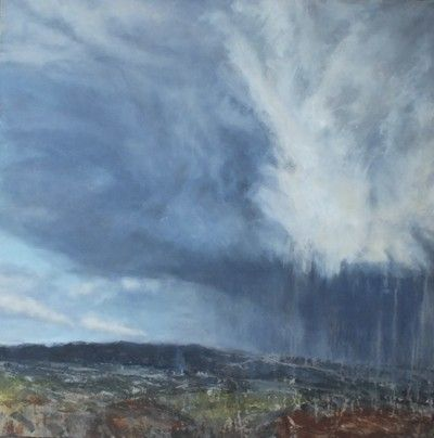 Mercurial Moor by Devon artist Julie Dunster in oil and mixed media 90cm x 90cm