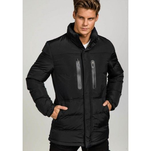 Čierna pánska zimná bunda s kapucňou dlhá - fashionday.eu