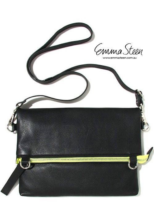 Emma Steen 'Che' Foldover Handbag $240 www.emmasteen.com.au Leather with neon yellow cotton lining - Adjustable and detachable strap so you can carry as cross-body messenger, clutch or purse. Designed to carry an iPad with secure interior compartments for women who love to travel to hide but easily access items. The best bag you will ever own - Available in Blue, Tan & Black.