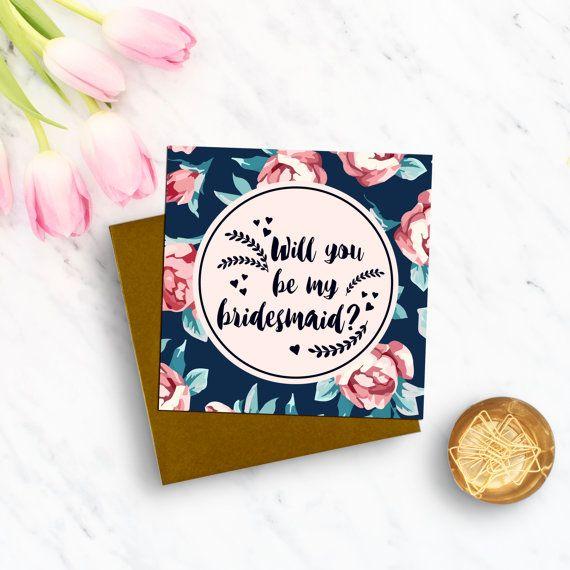 Will You Be My Bridesmaid? Luxury Wedding card - Bridesmaid Card - Bridesmaid Gifts - Floral Modern Design