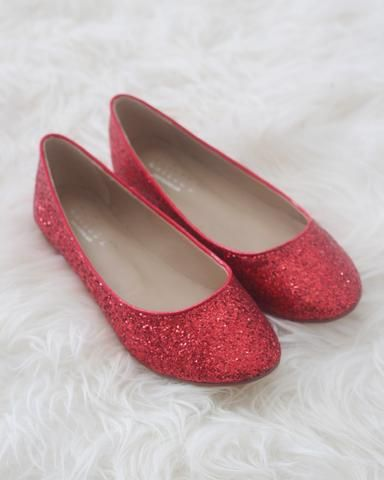086504c278b3 RED Rock Glitter Slip on Flats. Rose Gold Rock Glitter Ankle Strap Flats  with Organza Bow - Women Shoes ...